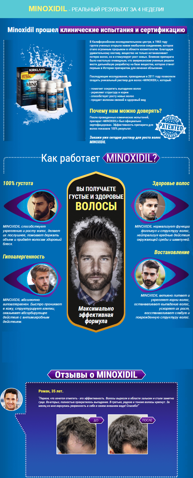 Миноксидил  (Minoxidil) препарат для роста бороды и волос купить