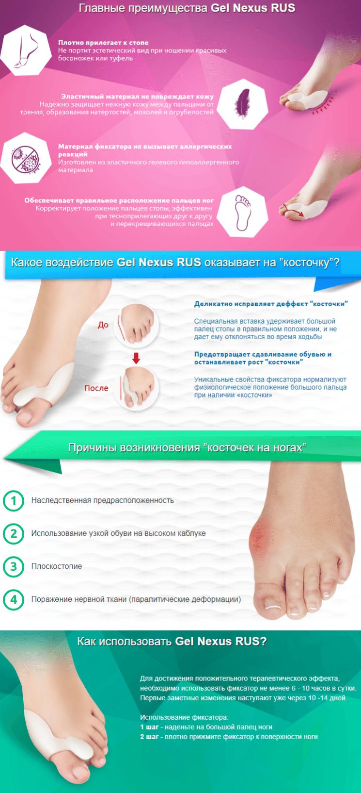 Gel Nexus от косточки на ноге
