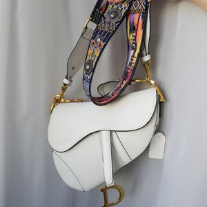 Сумка Dior Saddle White Гладкая Кожа